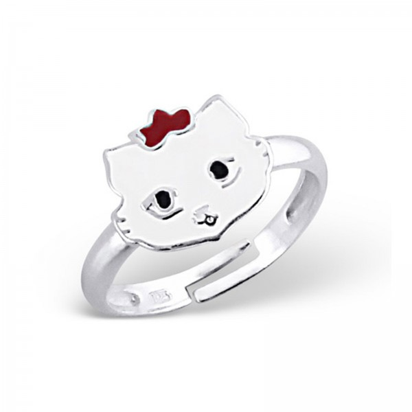 Kinder Ring Katze Weiss 925 Silber-Copy