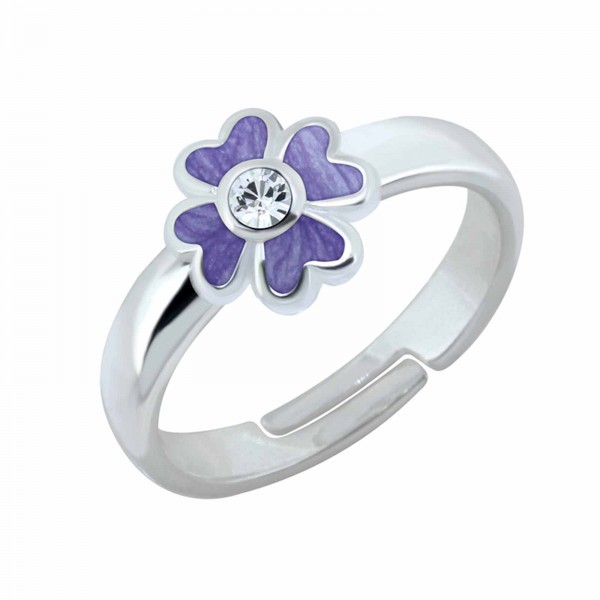 Kinder Ring Blume Lila Kristall 925 Silber