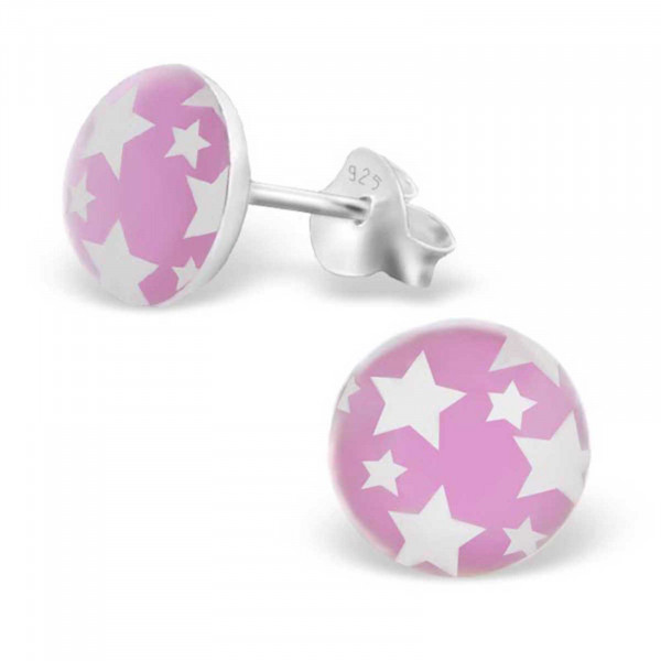 Kinderohrringe Picture pink Sterne weiss 925 Silber