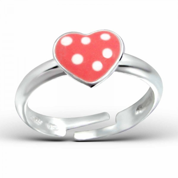 Kinder Ring rotes Herz Punkte 925 Silber
