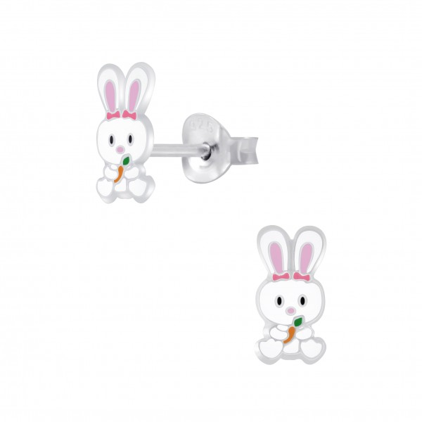 Kinder Ohrringe Hase Ostern 925 Silber Weiss